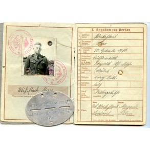 Wehrpass to M. Weihsflach, GJR 98, Anti partisan actions Balkan, EK1, close combat clasp,...