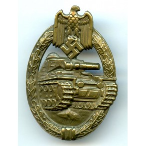 Panzer assault badge badge in bronze by O. Schickle