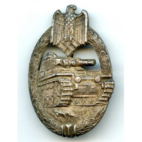 Panzer assault badge in silver by K. Wurster