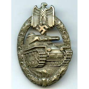 Panzer assault badge in silver by C.E. Juncker