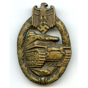 Panzer assault badge in bronze by Hymmen & Co