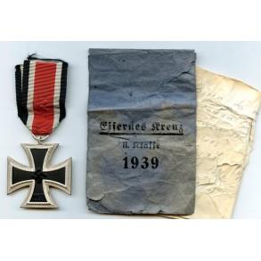 Iron cross 2nd class by R. Wächtler & Lange + package + capture paper