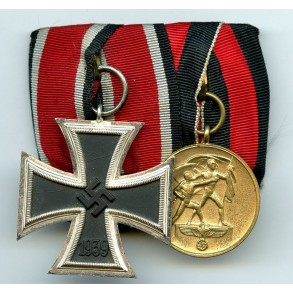 2 place medal bar with Iron cross 2nd class and Czech annexation medal