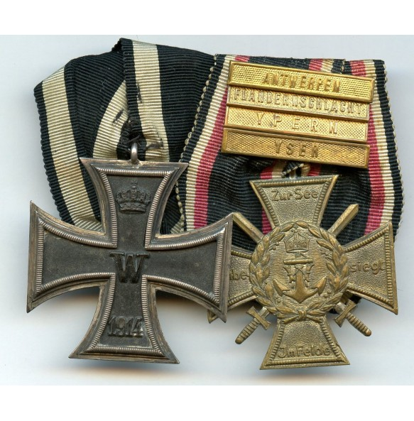 Medal bar with WW1 EK2 and Flanders cross + 4 campaign bars!