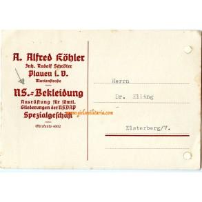 """Invoice of a """"Zeltbahn"""" at Alfred Köhler"""