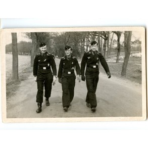 Private snapshot 3 decorated panzer crew members in black wrappers