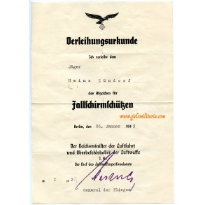 Luftwaffe paratrooper badge award document to Jäger H. Zündorf