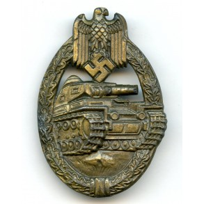 Panzer assault badge badge in bronze E.F. Wiedmann