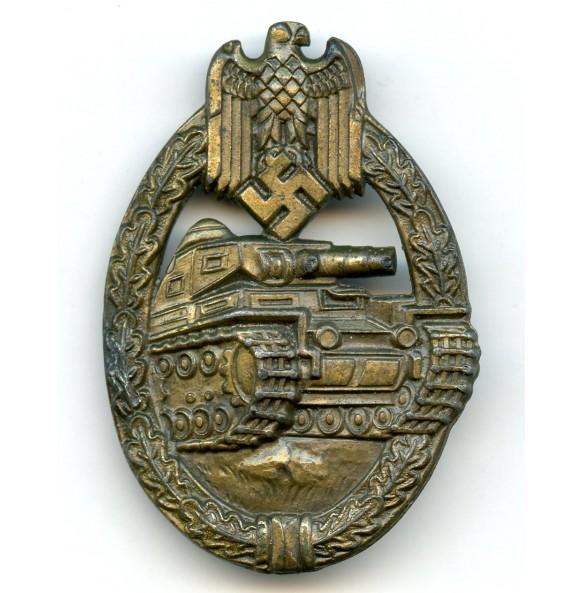 Panzer assault badge badge in bronze E.F. Wiedmann