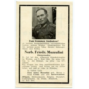 Death card to N.F. Muzzulini KIA D-day + 1!