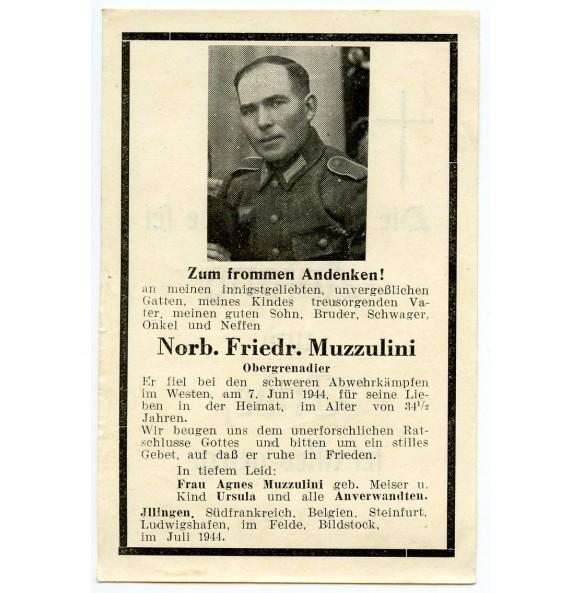 Death card to N.F. Muzzulini KIA D-day + 1!