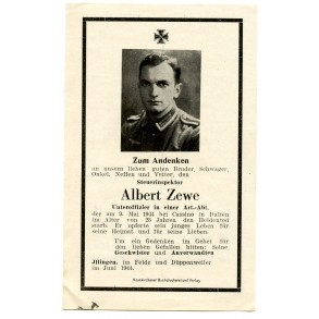 Death card to NCO A. Zewe KIA Italy, Cassino 1944