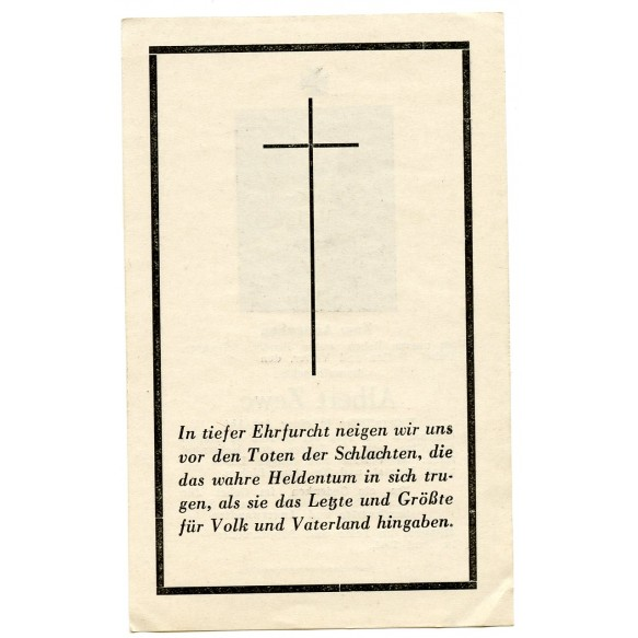 Death card to NCO A. Zewe KIA Italy, Cassino 1944