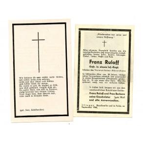 2 Death cards to F. Ruloff, KIA Denmark