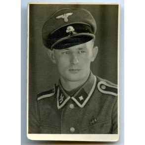 Portrait photo SS Scharführer with Czech annexation medal + Prague bar