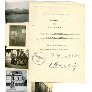 Award document for Kuban shield to Gefr. J. Meyer, Jäger Rgt 204