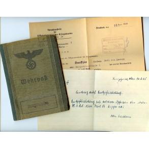 Kriegsmarine Wehrpass to K. von Kaehne, Prinz Eugen, officer training