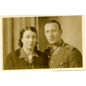 Portrait photo coastal artillery NCO with wife