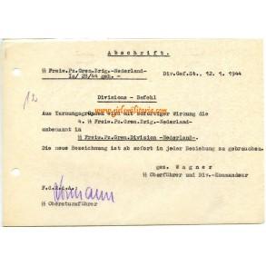 """Receipt name change SS-Freiw. Pz. Gren.Div. """"Nederland"""" 1944"""