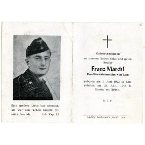 Death card to panzer crew member F. Marchl, KIA 25.4.1945, Bratislava-Brünner Operation