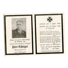 Death card to panzer crew member H. Eichinger, KIA Letvia 1944