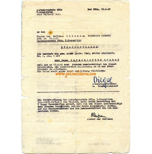 SS-Junkerschule Töltz, temporary arrest for SS Junker Ollman, feb 1945!