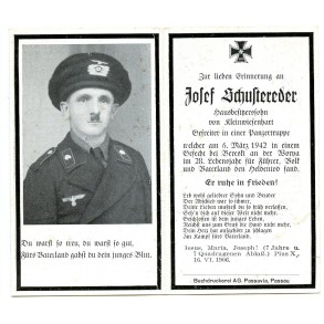 Death card to panzer crew member J. Schustereder KIA Worna 1942