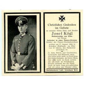 Death card to panzer crew member J. Kög, KIA Kolodesy, Russia 1942