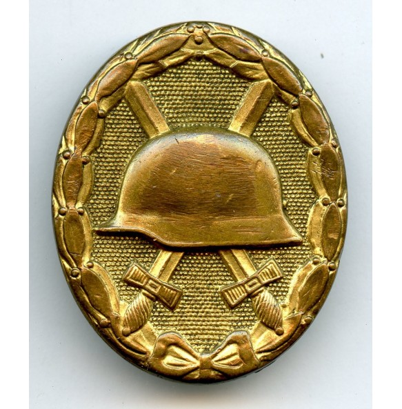 Wound badge in gold by Hauptmünzambt Wien, denazified