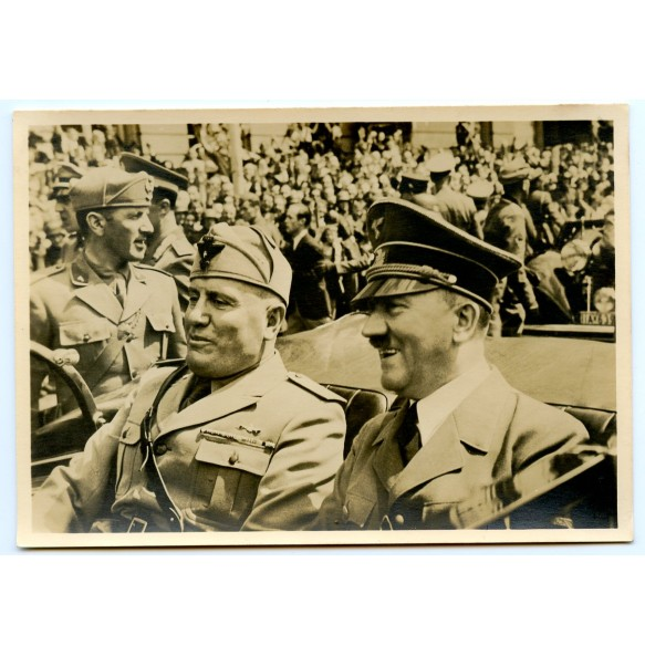 Period postcard of AH and Mussolini, Munich 1940