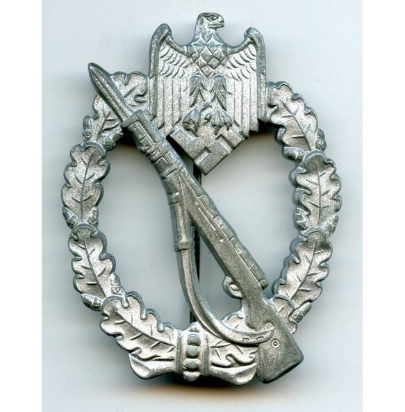 "Infantry assault badge in silver by W. Deumer ""vertical crimp"""