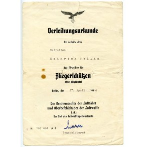 Luftwaffe airgunner badge (no bolts!)  award document to Gefr. H. Wollin 1944