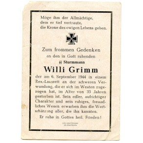 Death card to SS-Sturmmann W. Grimm, KIA 6.9.44 West front