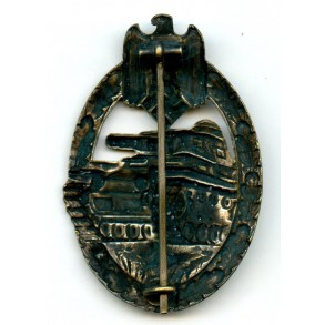Panzer assault badge in silver by C.E. Juncker, tombac coated variant!