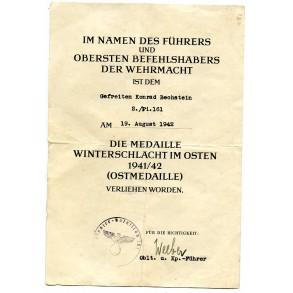 East front medal award document to Gefr. K. Bechstein, Pi Btl. 161