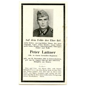 Death card to P. Lattner, KIA during heavy fightings in Donez 1943