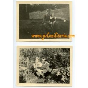2 private snapshots SS-Hauptscharführer with child