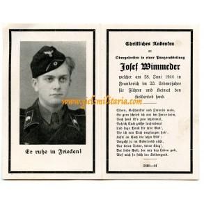 Death card panzer crew member J. Wimmeder, KIA Normandy 28.6.44