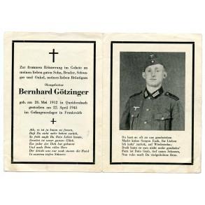 Death card to B. Götzinger, KIA France 1945