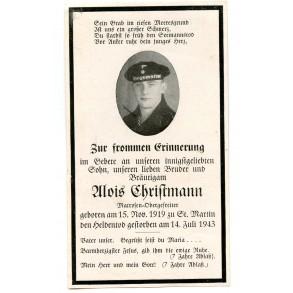 Death card to A. Christmann, KIA St. Martin 1943