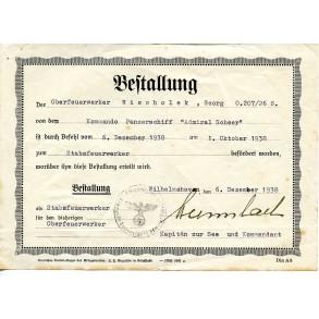 "Iron cross 1st class award doc. to G. Wischolek, April 1941 on board of ""Admiral Scheer"""
