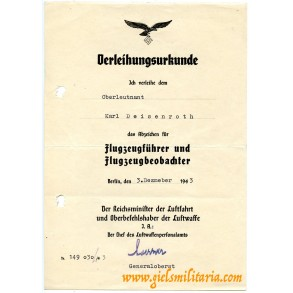 Luftwaffe combined pilot observer award document, Oberleutnant Karl Deisenroth 1943