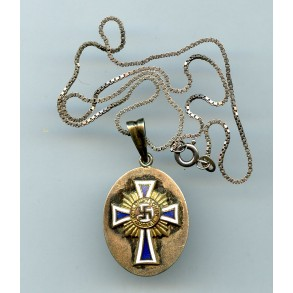 Mother cross in gold modified miniature on chain