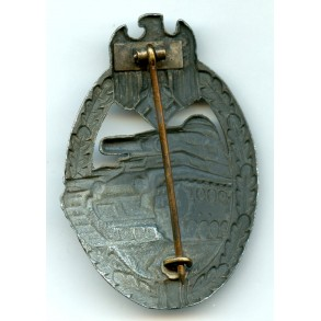 Panzer assault badge in silver by W. Deumer
