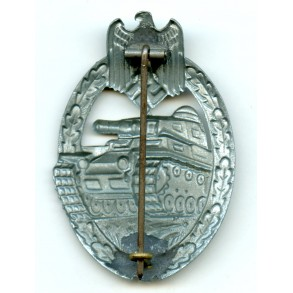 Panzer assault badge in silver by F. Linden, hollow variant
