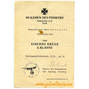 Iron cross 2nd class award document to E. Bernhard, Festung Kolberg, March 1945!!