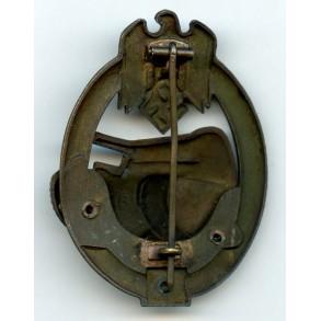 """Panzer assault badge in bronze 50 assaults by G. Brehmer """"GB"""""""