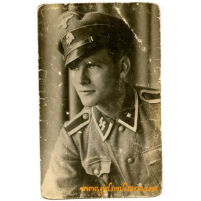 SS portrait photo SS-Unterscharführer with visor, KIA 6.2.1944