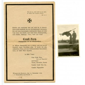 Death card to E. Petz, coastal artillerie unit + photo