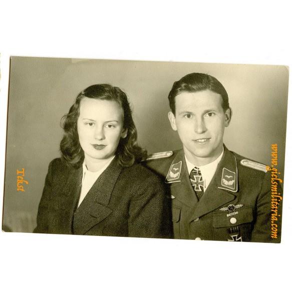 "Portrait Luftwaffe Knights cross winner, bomber clasp pennant ""500"""